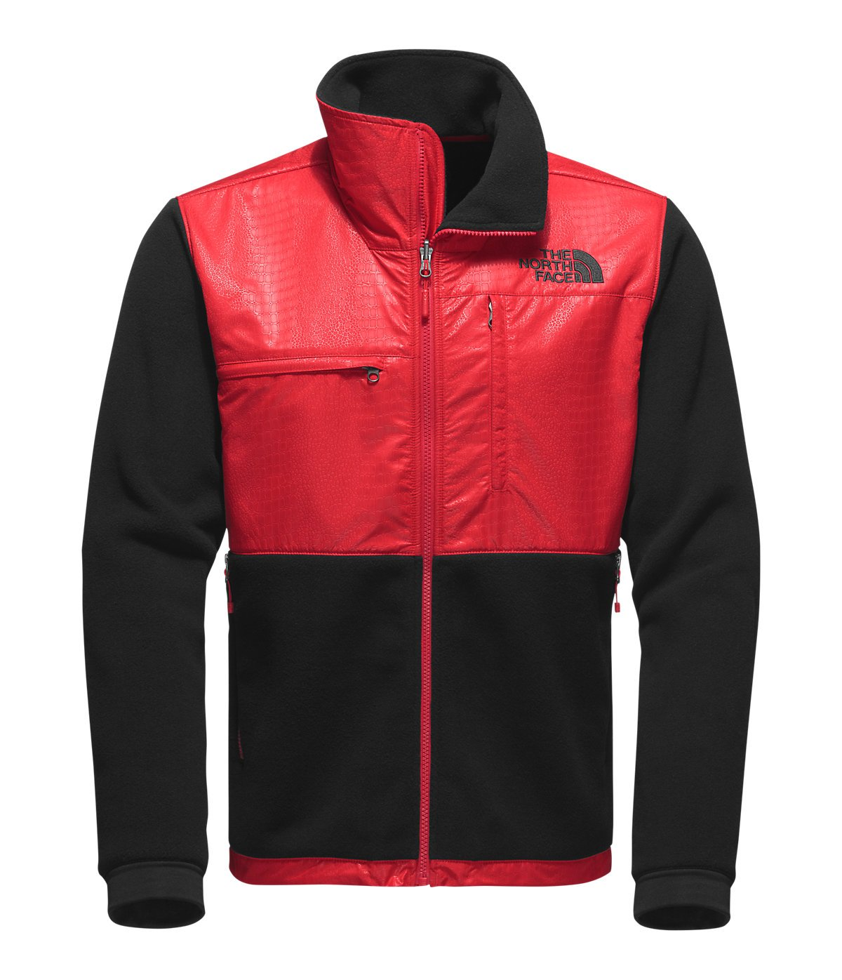 The North Face Denali 2 Jacket - Men's Recycled TNF Black/Red Croc Embossed Large