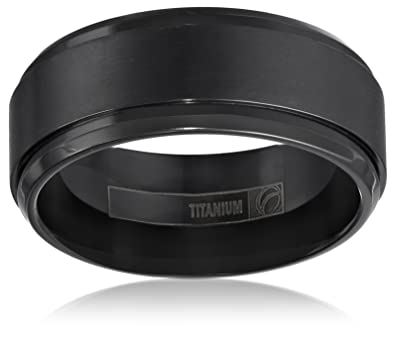 black titanium 9mm comfort fit wedding band with satin finish and high polished double edge