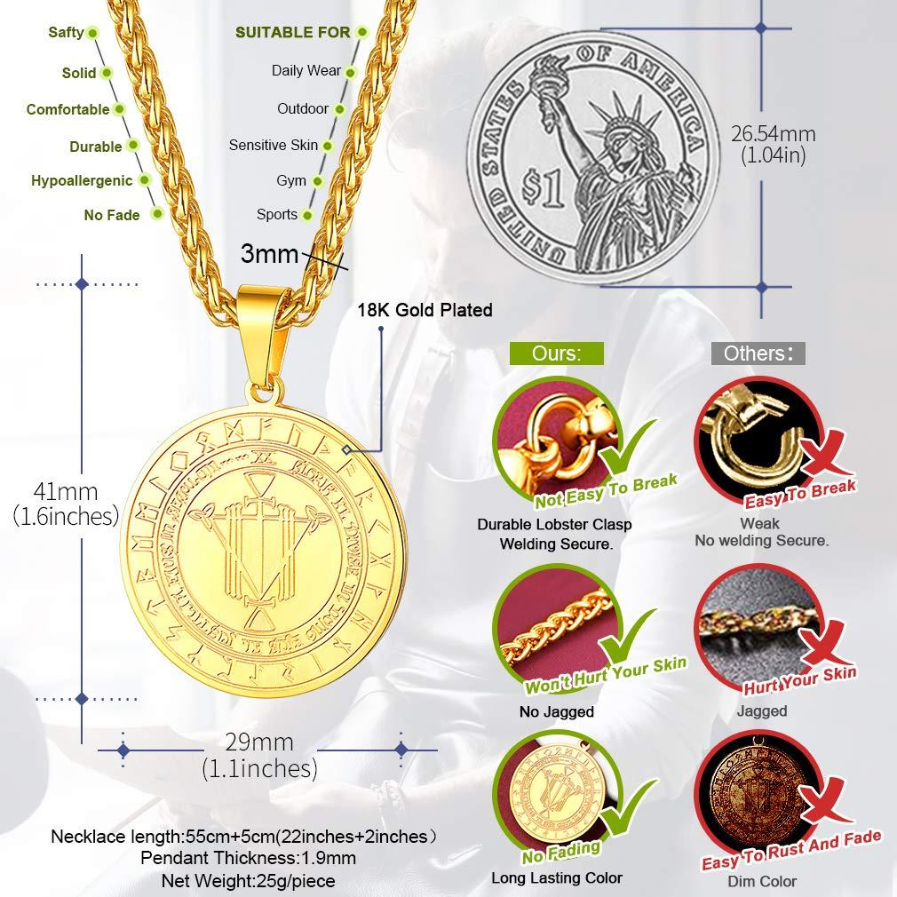 FaithHeart Sello de Salom/ón Medalla Redonda Colgante Acero Inoxidable Collar Religioso Jud/ío Joyer/ía Milagrosa de Protecci/ón para Hombre y Mujer Moneda Circular