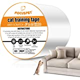 "FOCUSPET Cat Scratch Tape Deterrent 4"" x 33 Yards (33% Wider) Furniture Protectors from Cats | Cat Training Tape Scratch…"