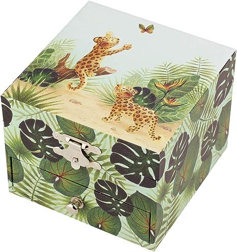 Trousselier Savane - Caja de tesoros/joyas musicales para niños, diseño de la bella de madera, color verde: Amazon.es: Bebé