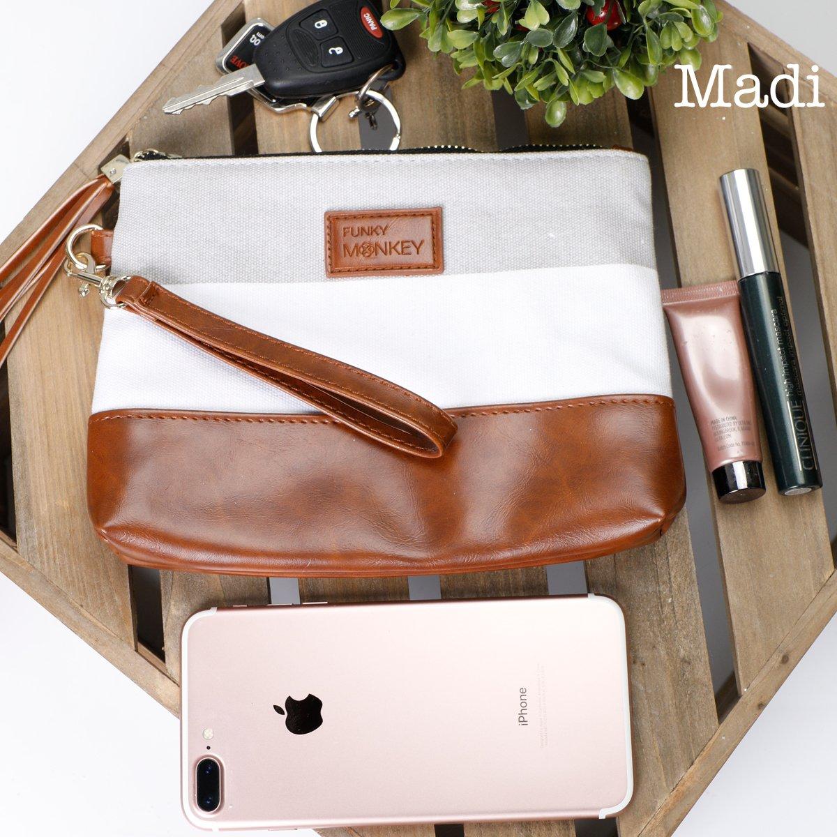 {Madi Collection} Wristlet Wallet Clutch Bag - Phone Purse Handbag - Small, Medium, Large Size - Gray & White Stripe Style, Vegan Bottom Urban- Funky Monkey Fashion (Medium) by Funky Monkey Fashion (Image #3)
