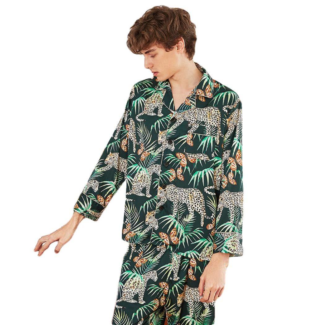 Pajamas Set Men All Seasons Silk Satin Sleepwear Suit Casual 2Pcs Homewear