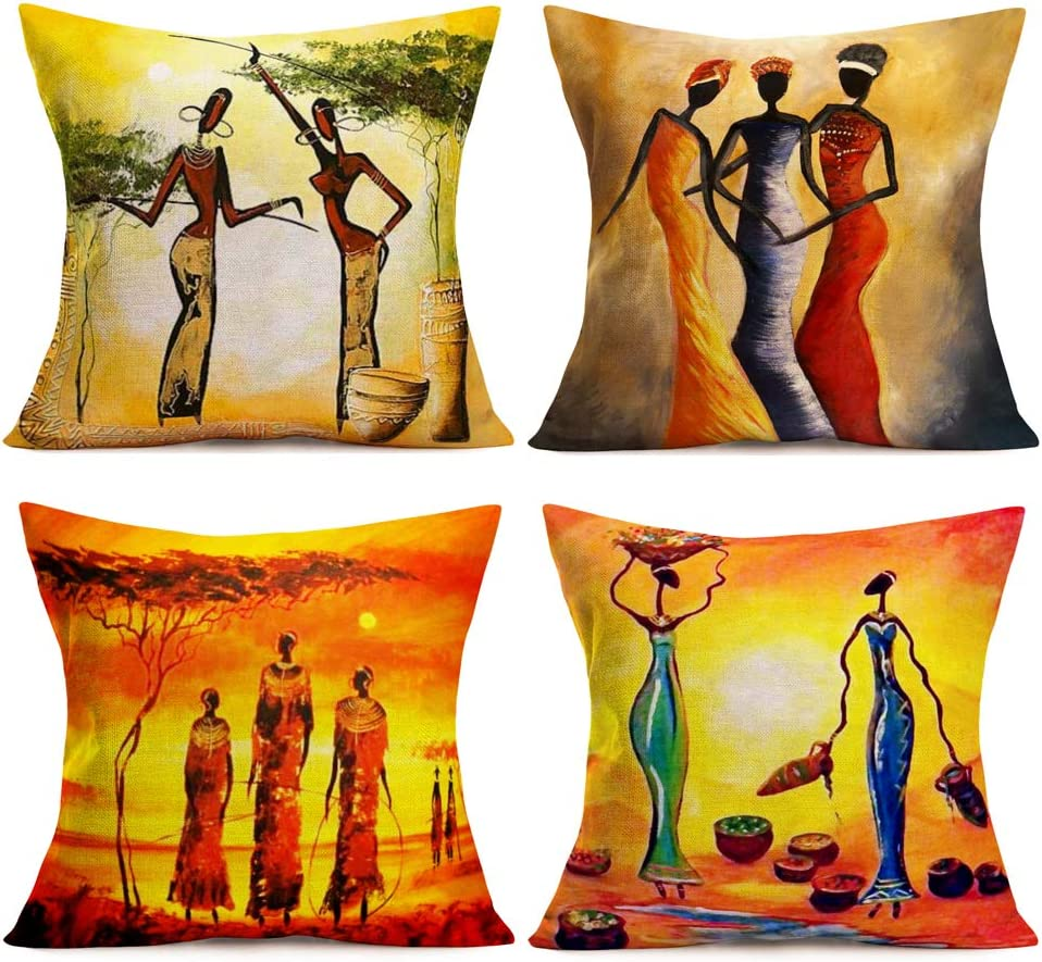 SmilyardAfrican Decor Throw Pillow Covers Cotton Linen Oil Painting African Women Print Outdoor Pillow Covers Cushion HomeDecorations 18x18 Inch Set of 4 Couch Pillow Case (Woman Set)