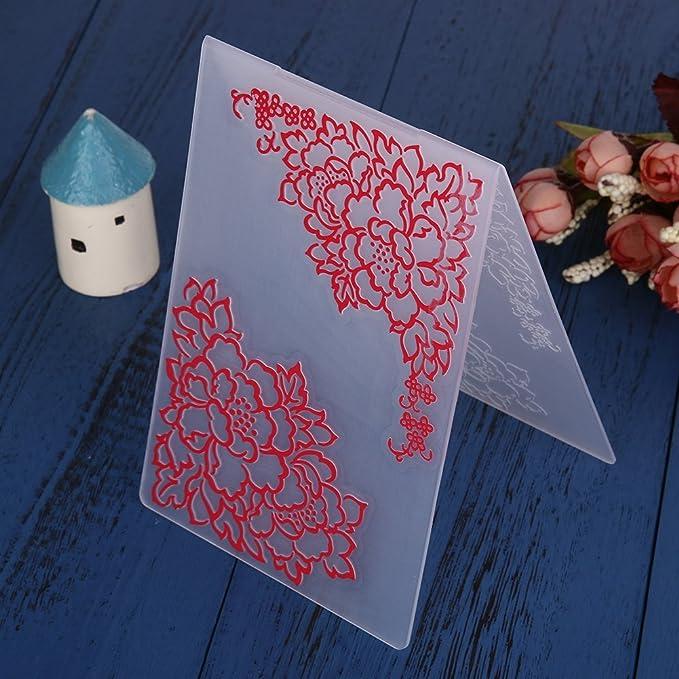Li-ly /Mod/èle de dossiers de gaufrage en plastique pour la fabrication de cartes de bricolage Fournitures de d/écoration Papier cadeau pour scrapbooking Cadeau dartisanat Utile et pratique Fleurs