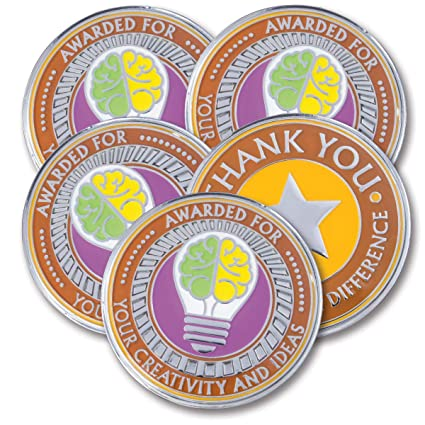 Amazon.com : AttaCoin - 5 Coins - Employee Appreciation Gifts - Motivation Award (5 Pack, Creativity) : Office Products