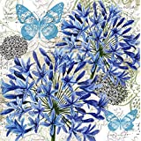 Cypress Home Blue Floral Study Embossed Paper Luncheon Napkin, 20 count