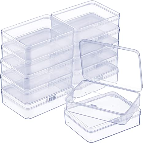 Hardware 2.12 x 2.12 x 0.79 Inches Crafts 24 Packs Small Clear Plastic Beads Storage Containers Box with Hinged Lid for Storage of Small Items Jewelry