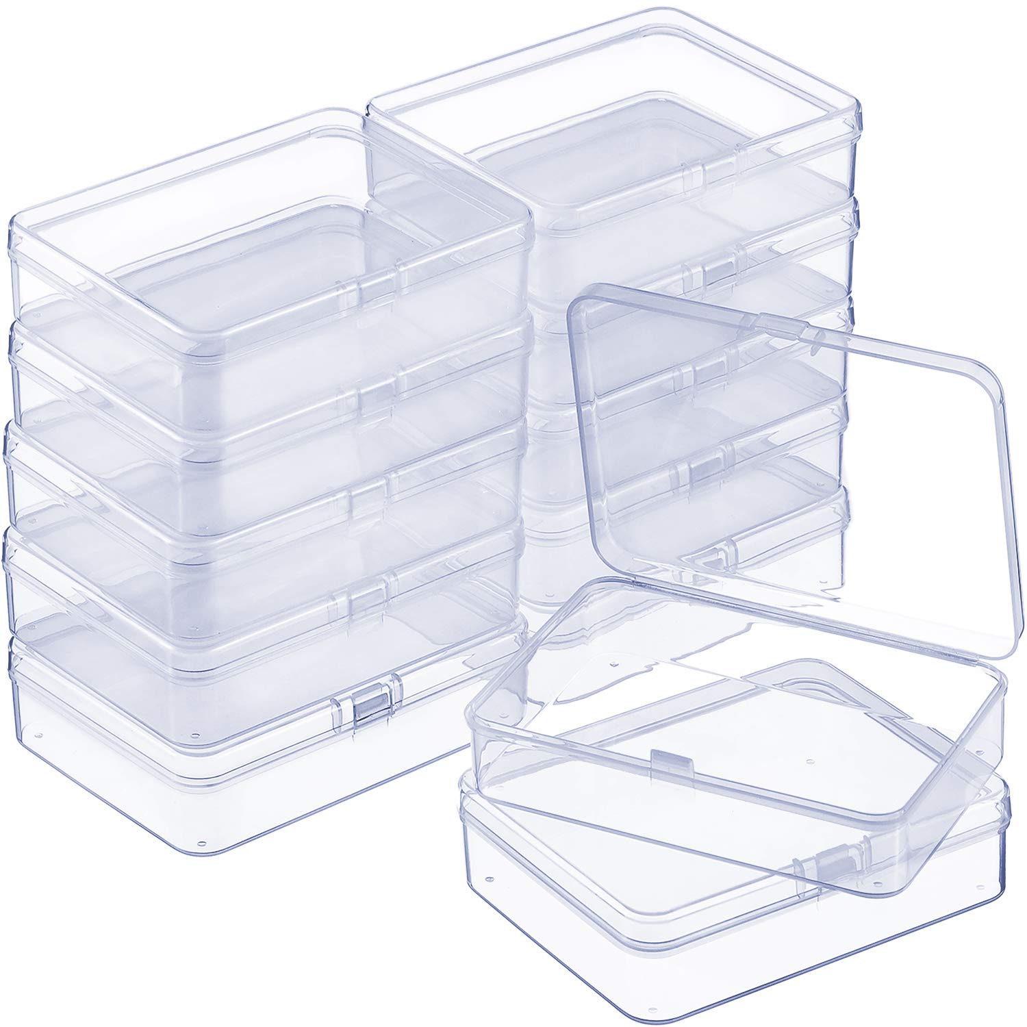 SATINIOR 12 Pack Clear Plastic Beads Storage Containers Box with Hinged Lid for Beads and More (4.45 x 3.3 x 1.18 Inch)