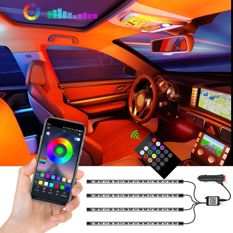 Luz interior coche led, Tiras de luces LED para coches, 4 piezas de 72 LEDs, Kits de iluminación controlados por aplicaciones, Multicolor, Kit de iluminación para Coche, con cargador de coche