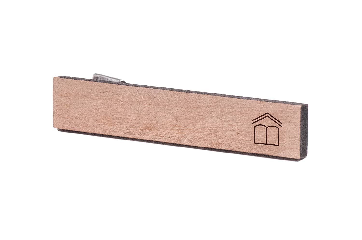Wooden Accessories Company Wooden Tie Clips with Laser Engraved Learning Book Design Cherry Wood Tie Bar Engraved in The USA