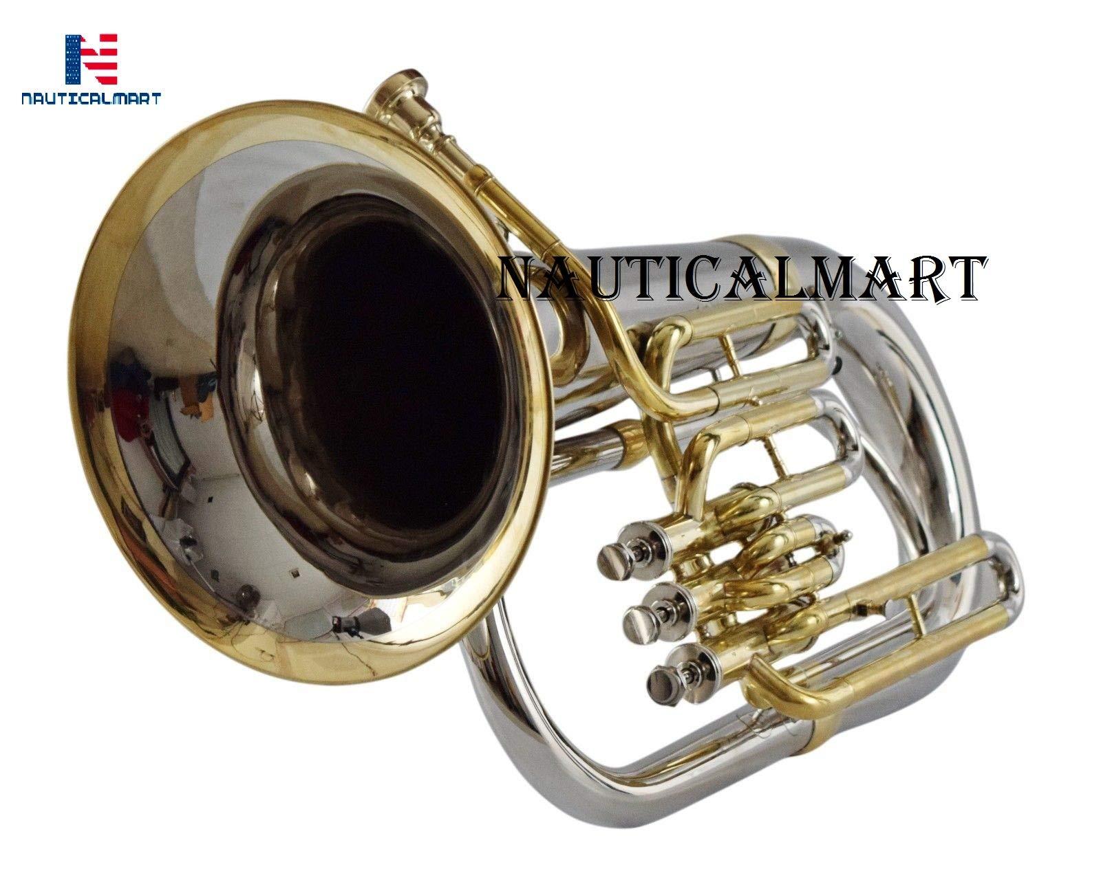 NauticalMart Nickel Bb Euphonium Nickel + Brass 3 Valve