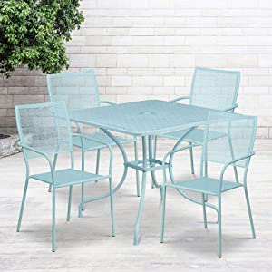"Flash Furniture Commercial Grade 35.5"" Square Sky Blue Indoor-Outdoor Steel Patio Table Set with 4 Square Back Chairs"