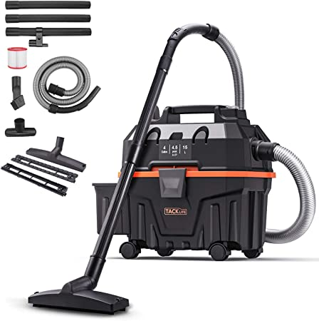 Wet and Dry Vacuum Cleaner, TACKLIFE 5 Peak Hp Wet Dry Vac 4 Gallon, Wet Dry Blowing 3 in 1 Function, Powerful Suction, Suitable for Indoor and Outdoor – PVC01B