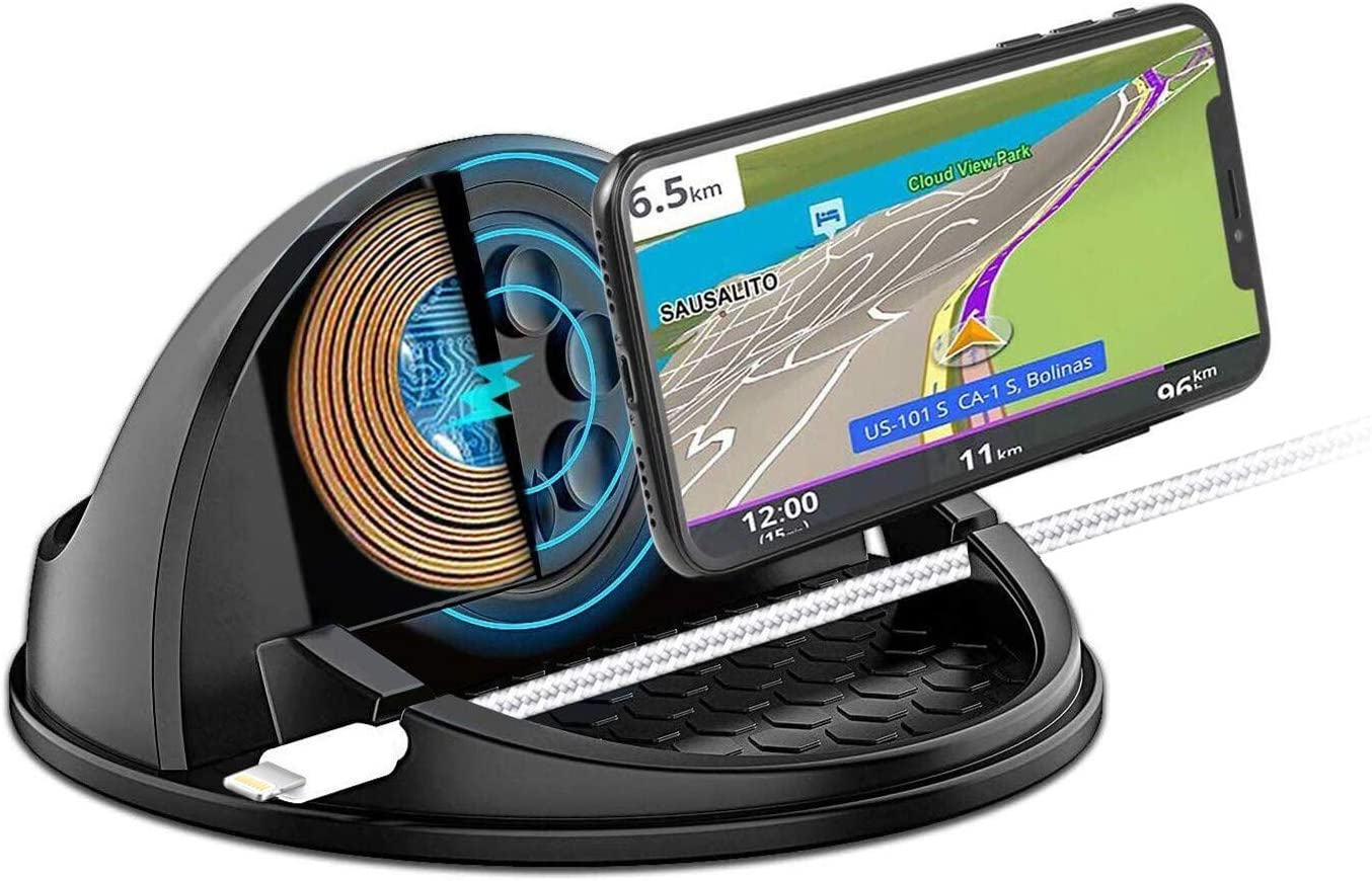 Qi Wireless Car Charger Mount,Silicone Suction Cup Phone Holder for Car Dashboards Home Office Car Wireless Charger Stand for iPhone11Pro/Max/XR/X/XS Samsung S9/S10 GPS Devices Clip Car Festival Gifts