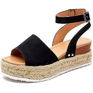 a14d610409307 Ru Sweet Womens Wedges Sandal Open Toe Ankle Strap Trendy Espadrille  Platform Sandals Flats