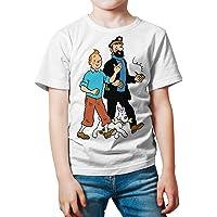 Camiseta Niño - Unisex Cómic - Dibujos Animación, Tintín, Capitán Haddock y Milú