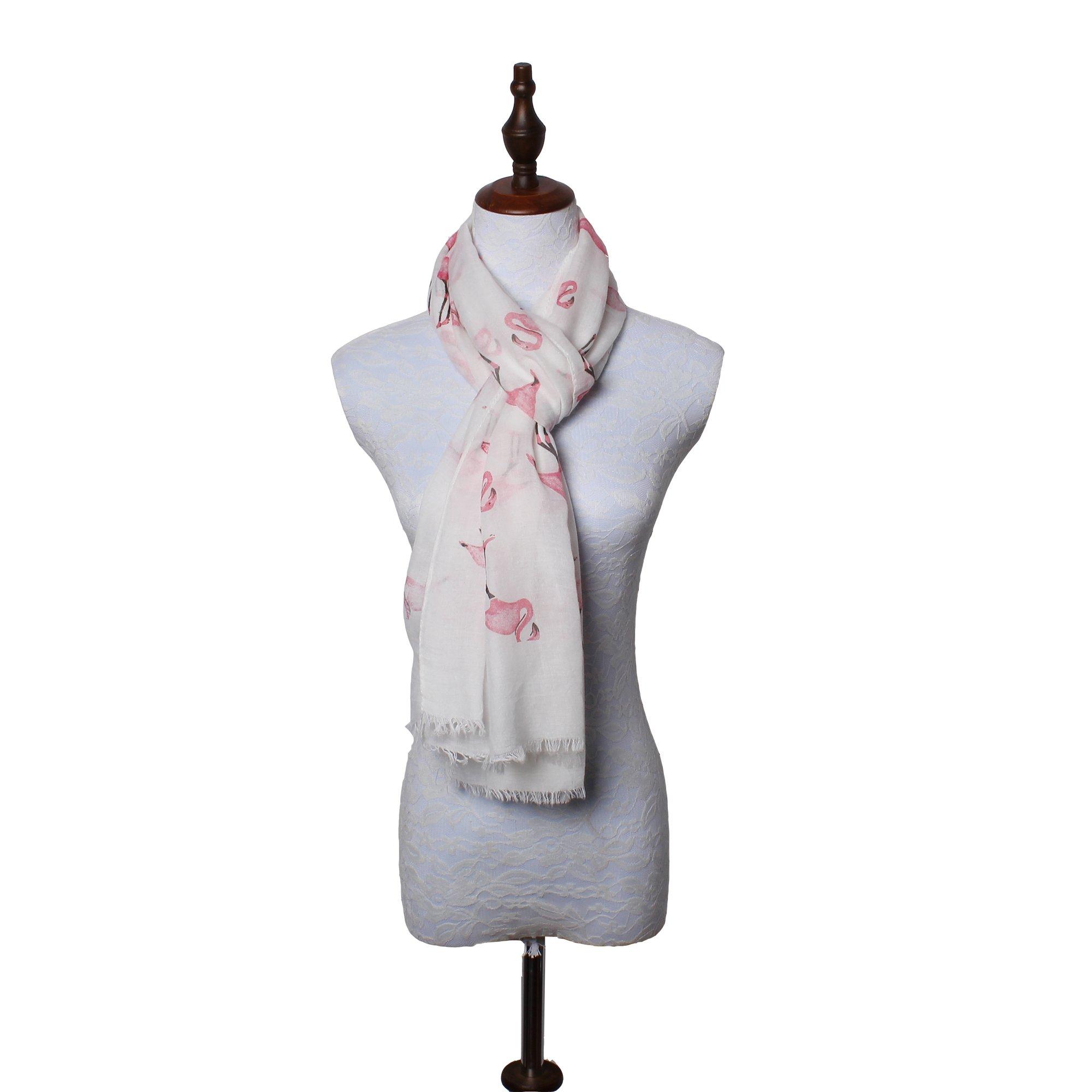 daguanjing 【Colorful Spring Inspired】 Women's Lightweight Fashion Scarf, Floral and Modern Print Sheer Shawl Wrap Flamingo by daguanjing (Image #7)
