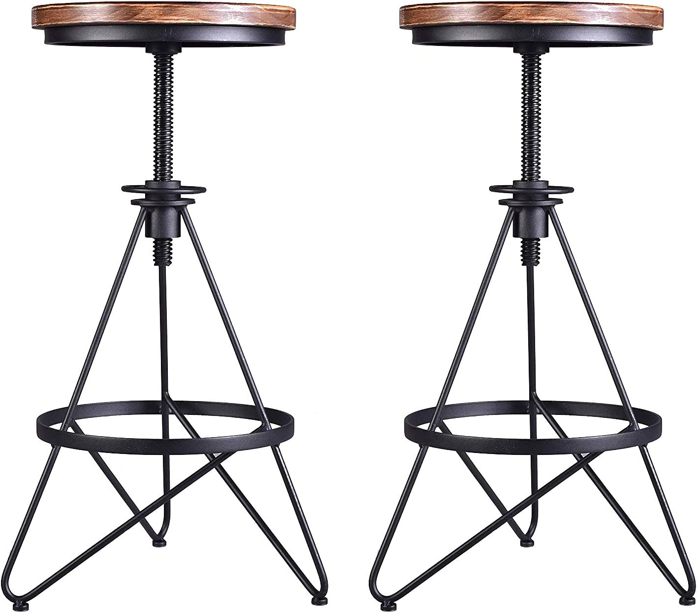 Lisuden Vintage Industrial Bar Stool Metal Frame Wood Top Adjustable Height Swivel Home Kitchen Restaurant Metal Bar Chairs 24-30 Inch Set of 2 Stools