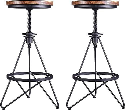 Lisuden Vintage Industrial Bar Stool Metal Frame Wood Top Adjustable Height Swivel Home Kitchen Restaurant Metal Bar Chairs 24-30 Inch Set of 2 Stool