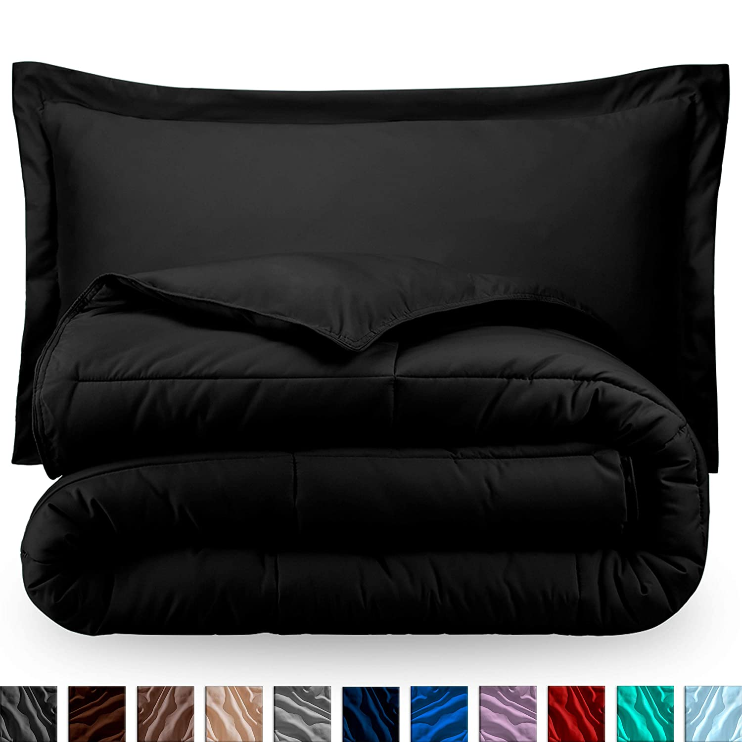 Bare Home Kids Comforter Set - Twin/Twin Extra Long - Goose Down Alternative - Ultra-Soft - Premium 1800 Series - Hypoallergenic - All Season Breathable Warmth (Twin/Twin XL, Black)