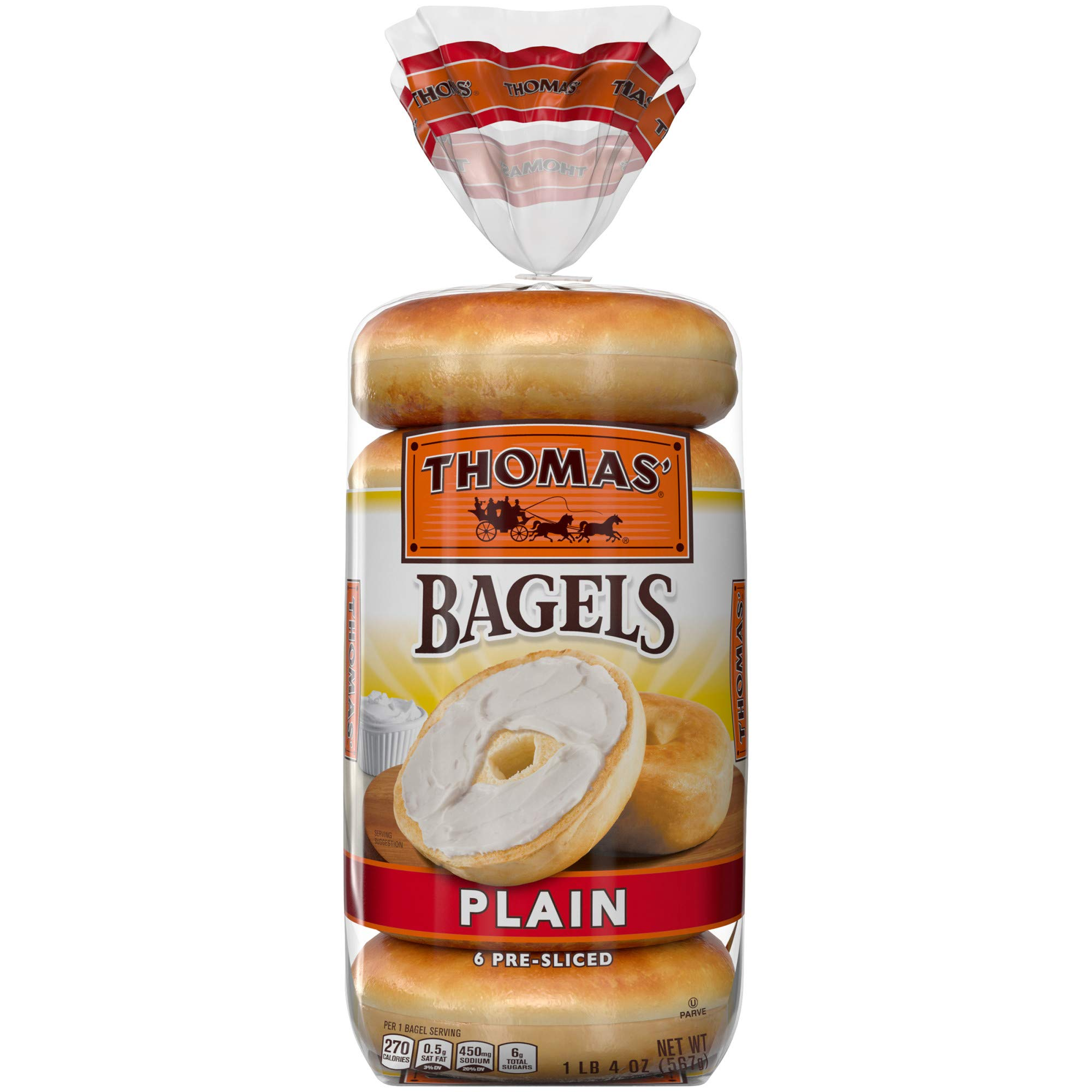 Thomas' Plain Soft & Chewy Pre-Sliced Bagels, 6 count, 3.35 Oz