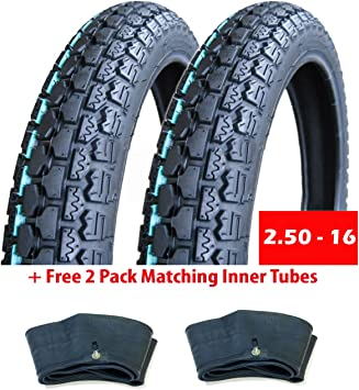 SET OF TWO: Street Tread Tire Size 16x3.0 Fits Electric Bikes Mopeds e-Bikes Scooters Kids Bikes BMX