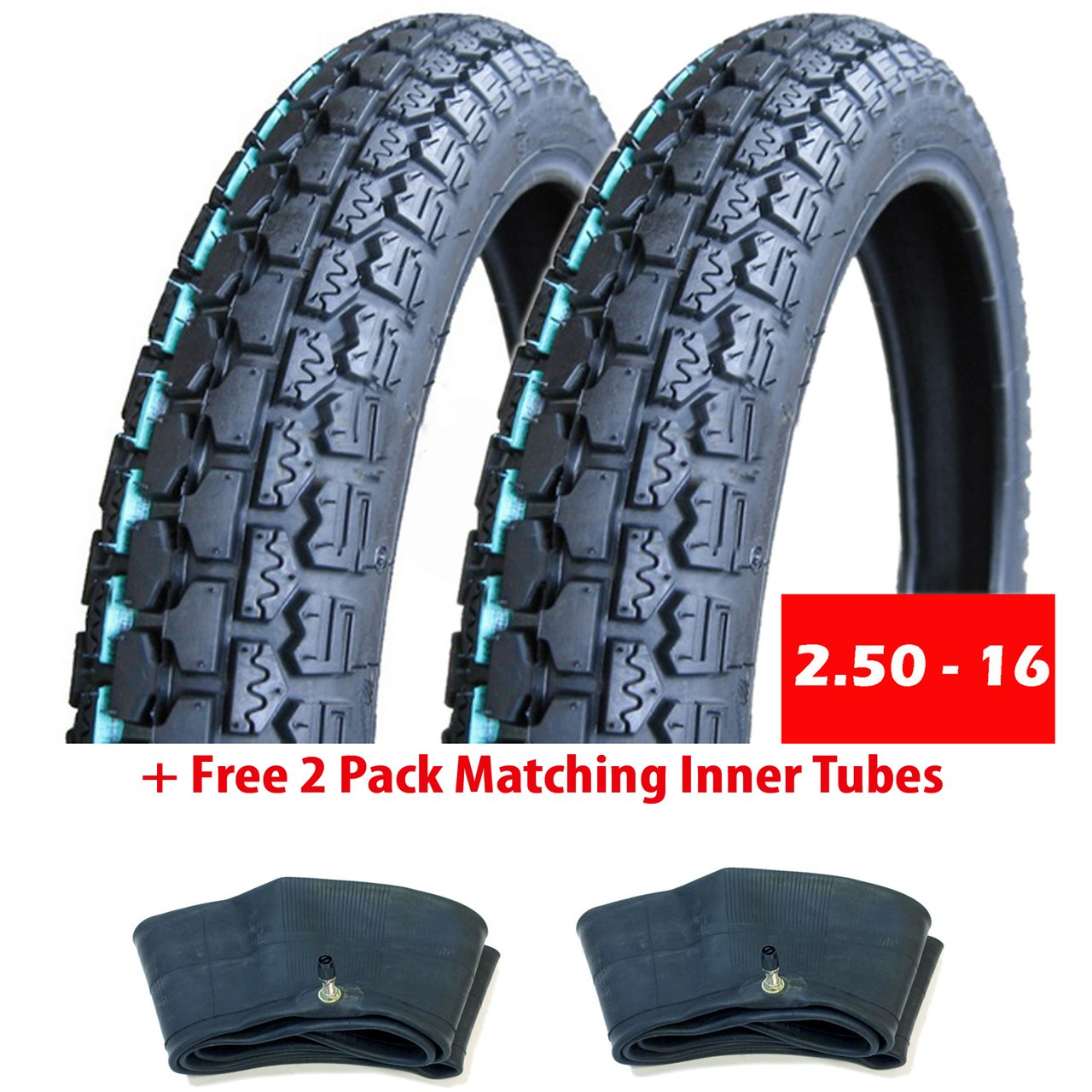 BUNDLE Motorcycle Tires: Two Tires Size 2.50 - 16 (P43) + FREE 2 Pack Matching Inner Tubes - Performance Motorcycles Dual On/Off Road Slightly Knobby Tread MMG 2_50-16 (P43)