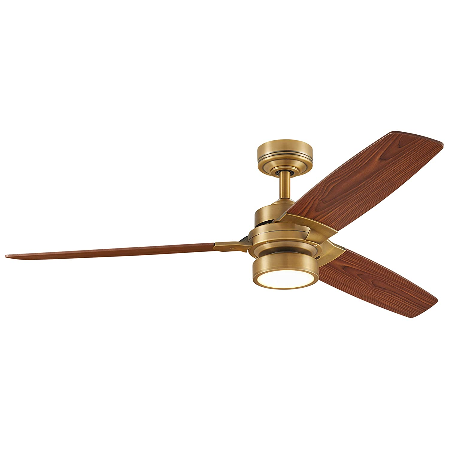 Rivet Modern Remote Control AC Motor Ceiling Flush Mount Fan with 18W LED Light – 52 x 52 x 7.6 Inches, Aged Brass with Maple Finish Blades