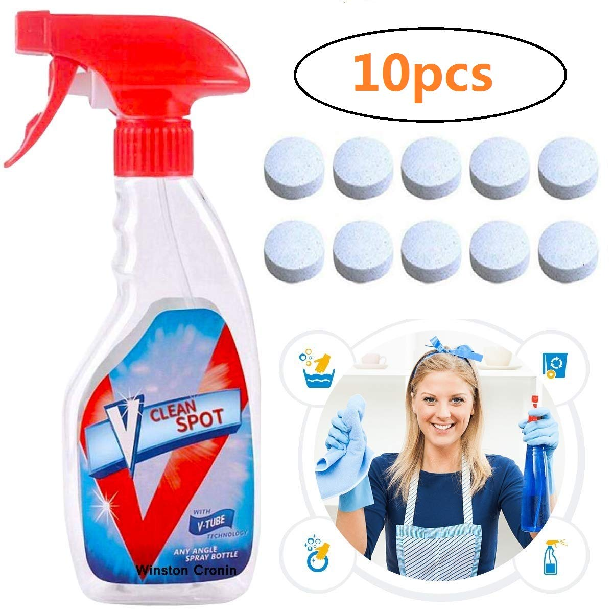 Letlar Effervescent Spray Cleaner, Home Cleaning Spray Cleaner Car Windshield Glass Washer Tablets Cleaner Concentrate Cleaning Tool All Purpose Home Cleaning Effervescent Spray Cleaner (10pic)