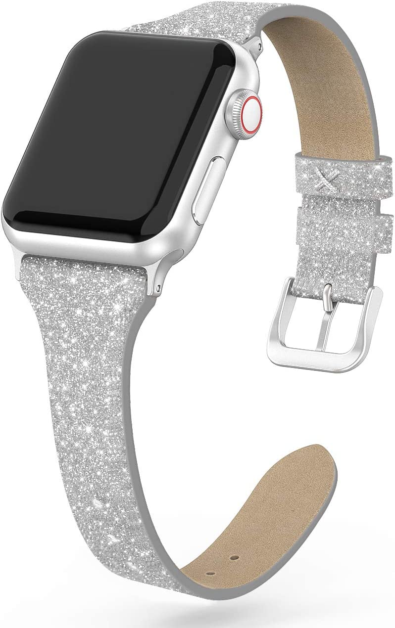 SWEES Leather Band Compatible for iWatch 38mm 40mm, Shiny Bling Glitter Matte Slim Thin Elegant Genuine Leather Strap Compatible with iWatch Series 6 5 4 3 2 1 SE Sport Edition Women, Glistening Silver