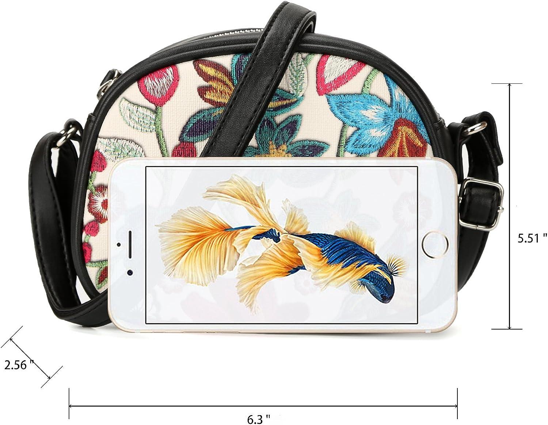 DAVIDJONES Womens Faux Leather Small Flower Cell Phone Crossbody Saddle Purse