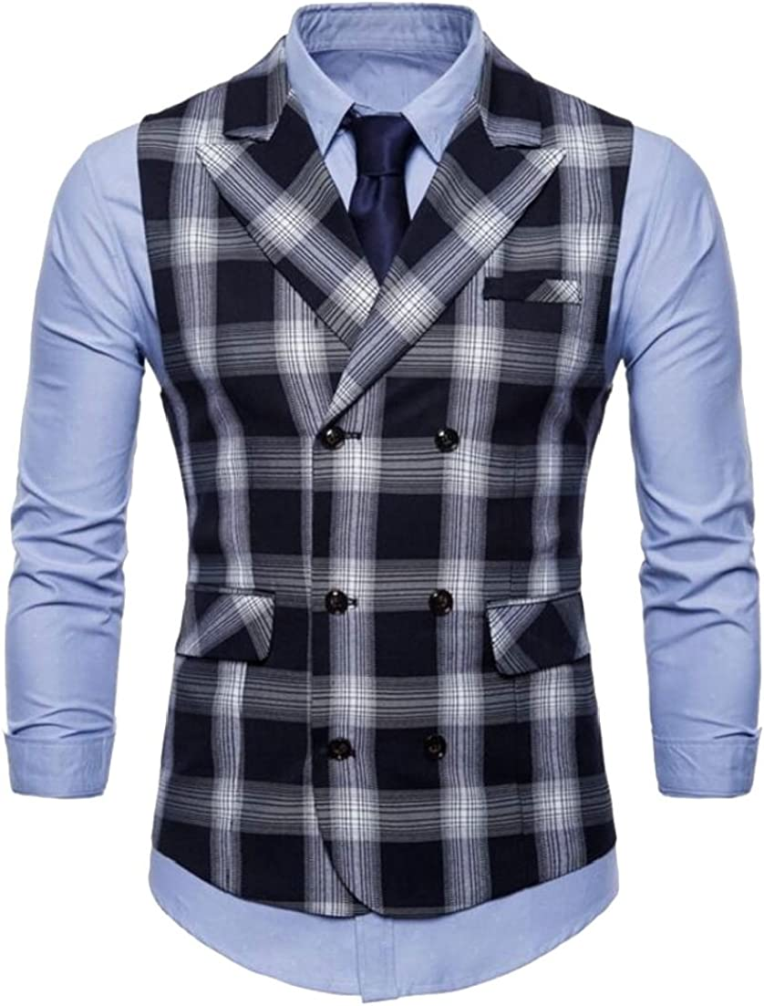 ainr Mens Business Sleeveless Double Breasted Plaid Slim Fit Suit Vest Waistcoat
