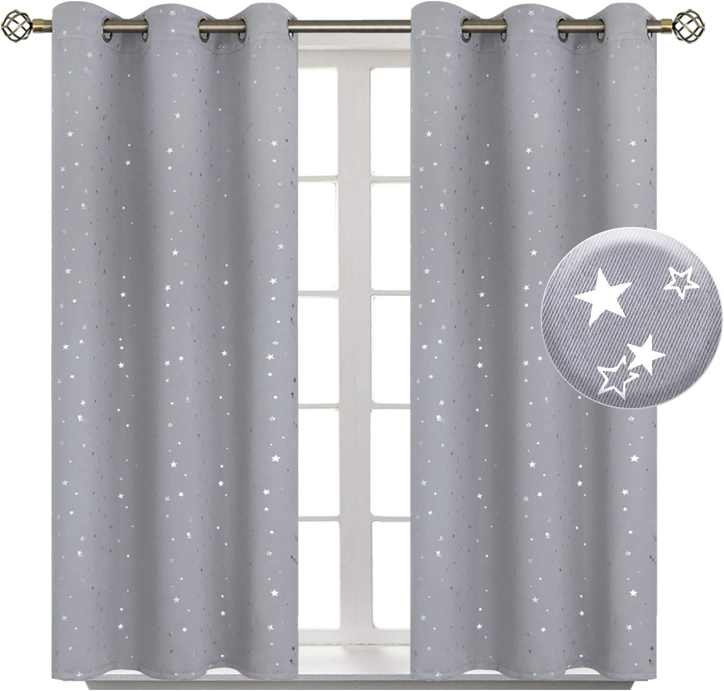 BGment Light Grey Star Blackout Curtains for Kid's Bedroom - Grommet Thermal Insulated Room Darkening Printed Curtains for Living Room, Set of 2 Panels (38 x 54 Inch, Light Grey)