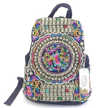 Mochila de lona étnica mujeres hechas a mano de flores bordadas bolsas de viaje mochila mochila mochila negro: Amazon.es: Equipaje