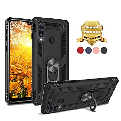 EUXERY Galaxy A20S Case (Not Fit A20/A20E) 360 Degree Rotating Ring [Work with Magnetic Car Mount] Heavy Duty Soft Silicone Kickstand Protection for Samsung Galaxy a20s (Black): Electronics