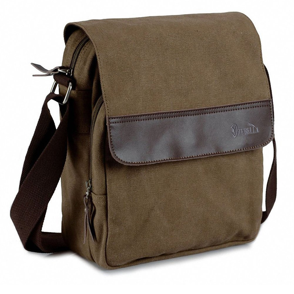 Amazon.com: Zebella Vintage Mens Small Canvas Messenger Bag Ipad ...