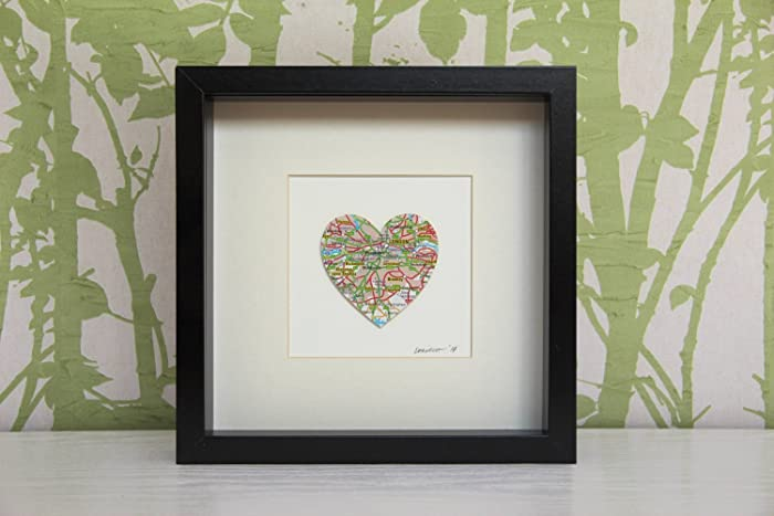 Personalised Heart Map Picture | Framed Map Heart Design. Any ...