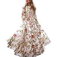 Cindero_Women Lingerie ¡El Mejor Regalo del día de la Madre! Mujeres Manga Larga Cuello O Patchwork Bolsillo Bohemio Vestido Largo Largo
