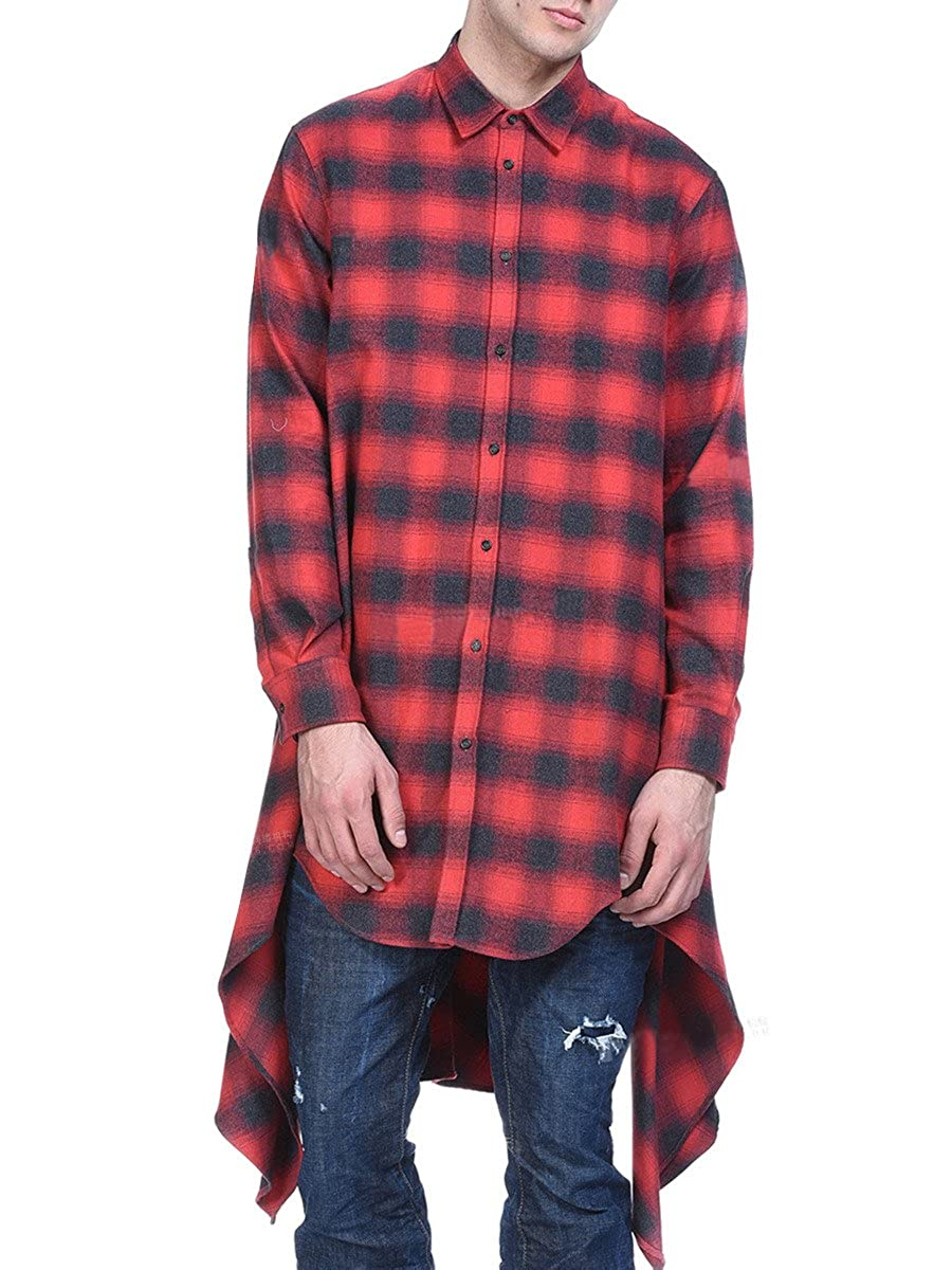 d3d2a6bd3 Fashion Design: the Unisex casual button up plaid couple shirt has  fashionable long hem design and oversized design.It would be the lover of  hipsters.