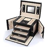 amazoncom black leather jewelry box travel case and lock