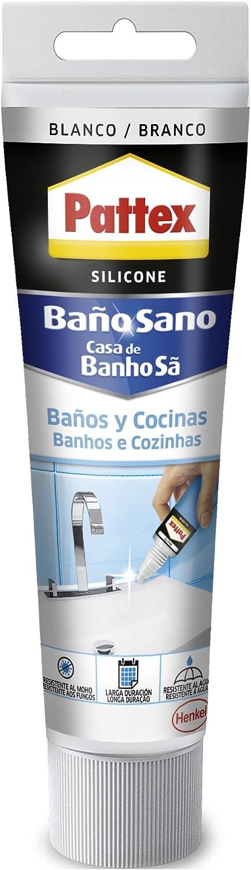 Pattex silicona Baños y Cocinas, resistente al moho y agua, color blanco, 50 ml