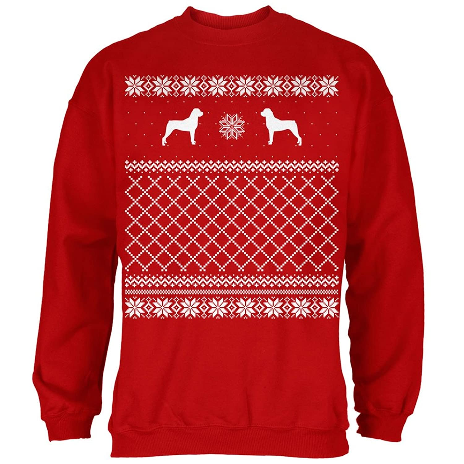 Amazon.com: Rottweiler Ugly Christmas Sweater Red Adult Sweatshirt ...