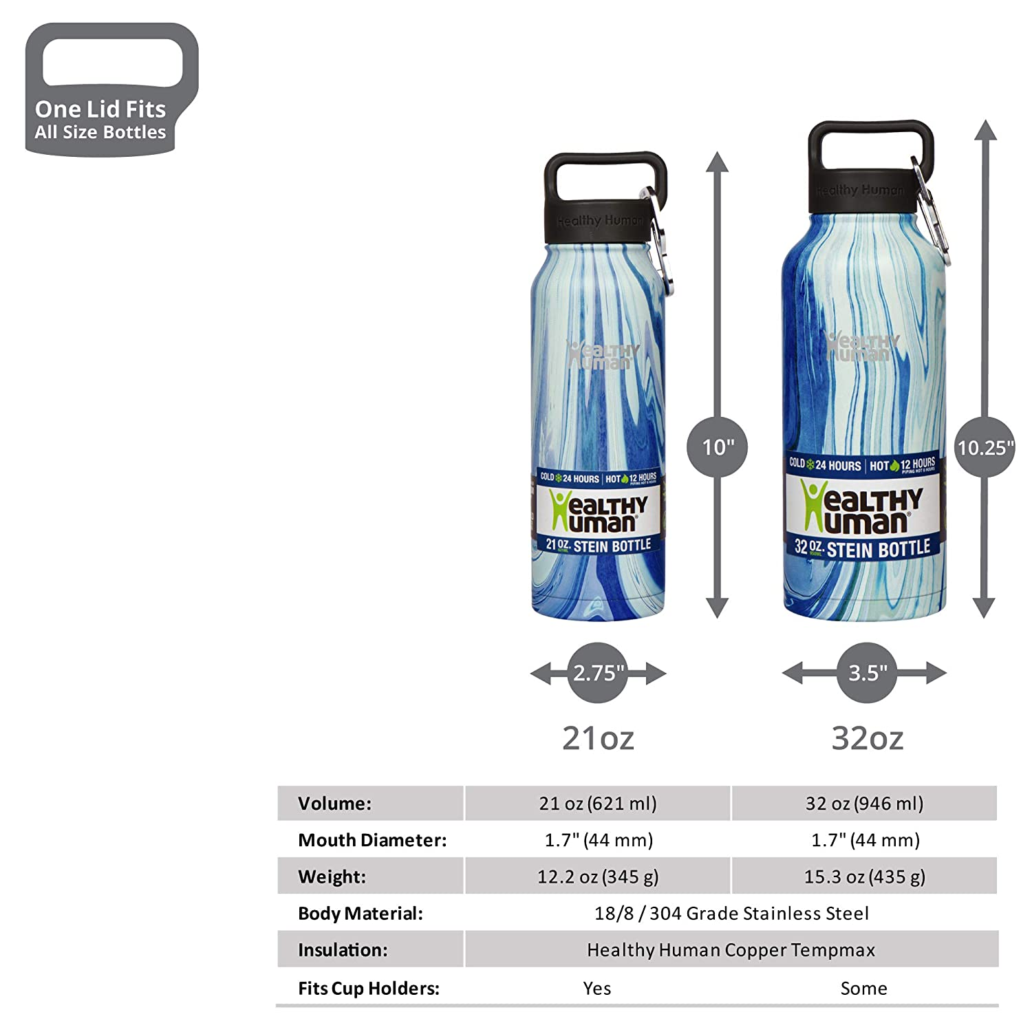 Hot 12 Hours 16 oz 21 oz 40 oz Double Walled Water Bottle 32 oz Keeps Cold 24 Hours Healthy Human Designer Collection Stainless Steel Vacuum Insulated Water Bottle
