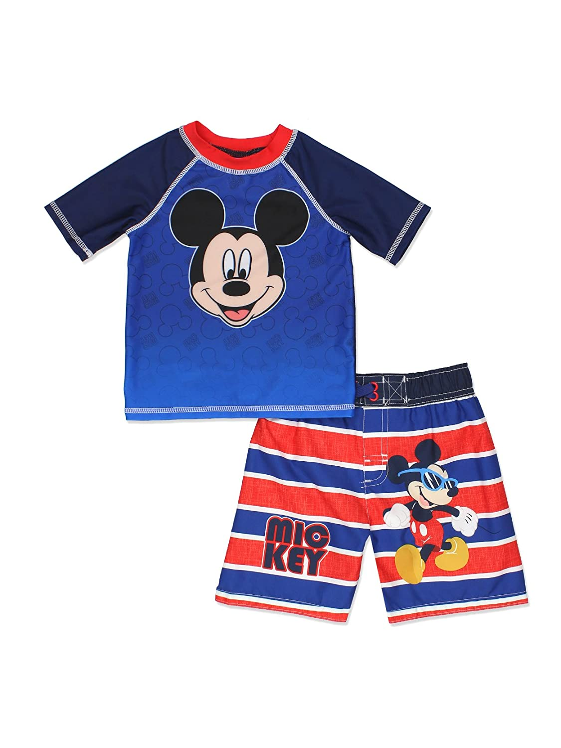 Mickey Mouse and The Roadster Racers Toddler Boys Swim Trunks and Rash Guard Set Dreamwave