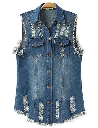 883f774a7c9 Flygo Women's Sleeveless Button Down Ripped Denim Jean Vest Waistcoat Jacket  at Amazon Women's Clothing store:
