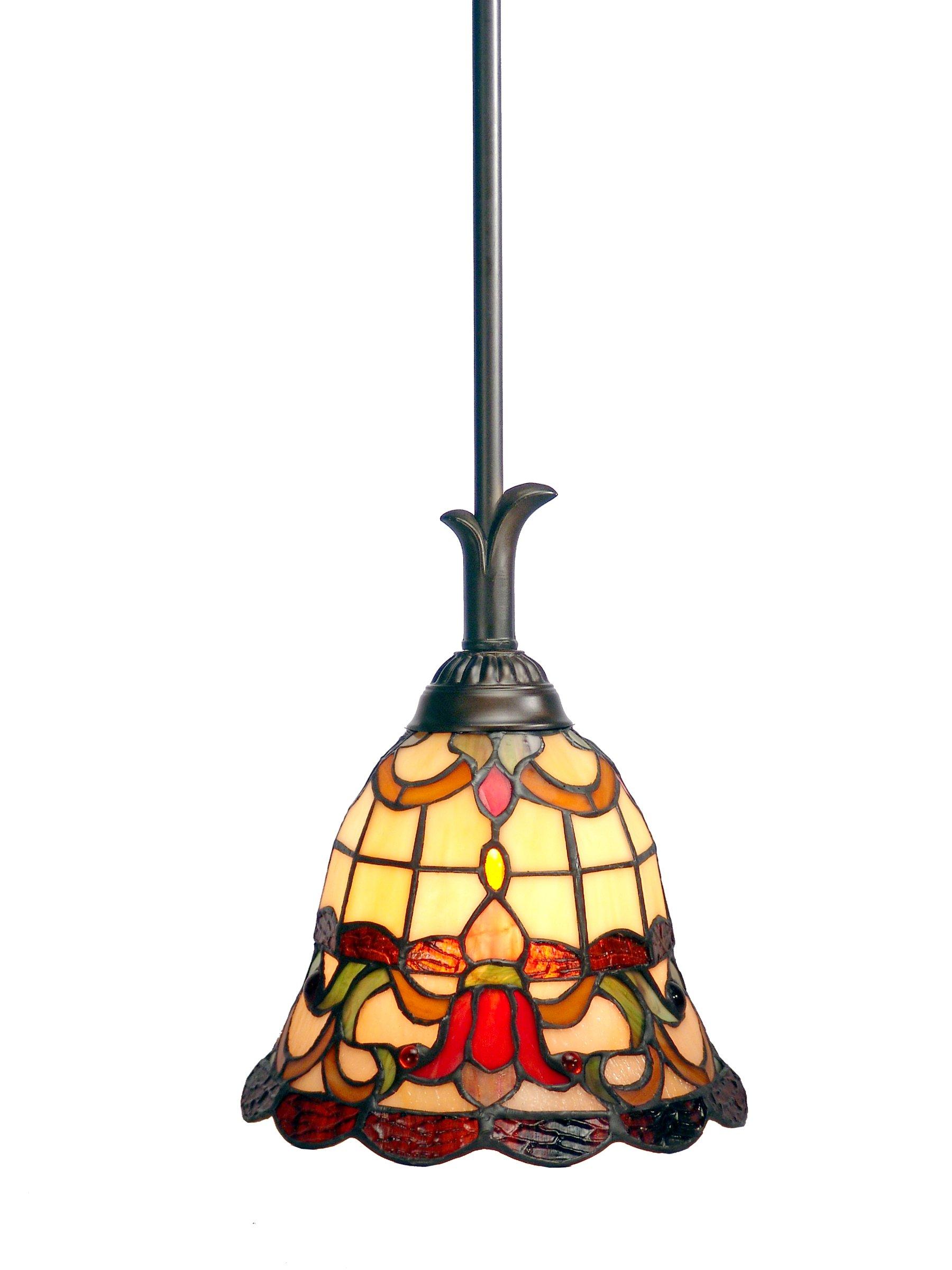 Dale Tiffany TH70101 Freeport Mini Pendant Light, Antique Bronze and Art Glass Shade