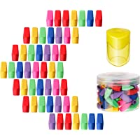 50 Pieces Pencil Top Erasers Cap Erasers and A Pencil Sharpener (Colorful)