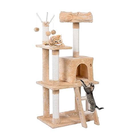Pawstory Árbol para Gato con Rascador de 120cm, Arañazo Juguete de Gatos de Sisal Natural