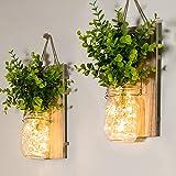 Mason Jar Sconces, Home Decoration, Rustic Wall Sconces, LED Fairy Lights, Green Fake Plant, Interior Decoration Warm Toned L